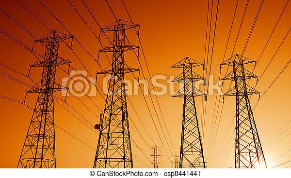 transmissão, pôr do sol, linhas, poder elétrico - csp8441441