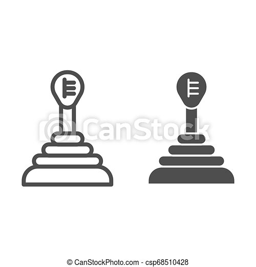 Transmission line and glyph icon. Gear shift vector illustration isolated on white. Car gearbox outline style design, designed for web and app. Eps 10. - csp68510428