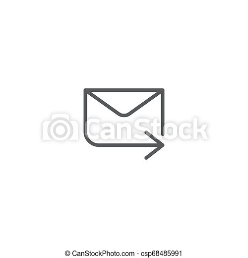 transmitir, aislado, vector, plano de fondo, mensaje, blanco, icono - csp68485991