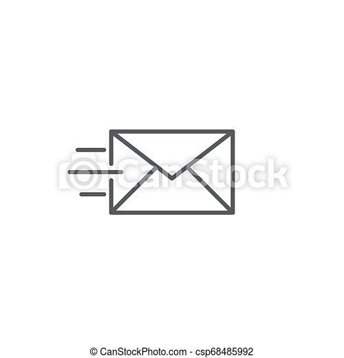transmitir, aislado, vector, plano de fondo, mensaje, blanco, icono - csp68485992