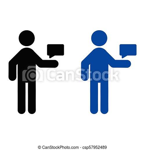 El hombre está enviando un icono mensaje - csp57952489