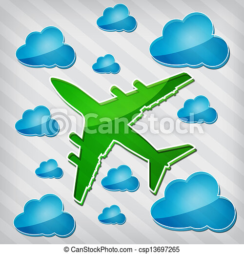 Transparency Four Engine Jet Airliners In The Air With Blue Cloud