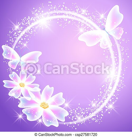 Transparent Butterflies Flowers And Sparkle Stars Glowing Lilac