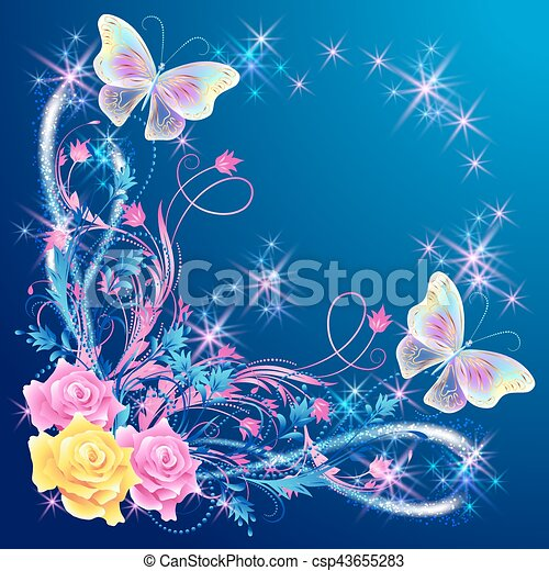 Transparent butterflies with floral ornament and firework - csp43655283