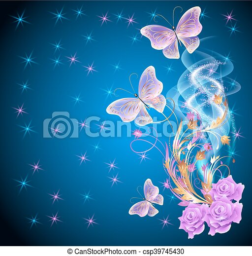 Transparent butterflies with floral ornament and firework - csp39745430