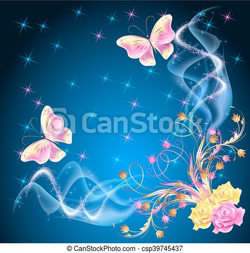 Transparent butterflies with floral ornament and firework - csp39745437