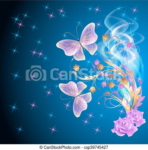 Transparent butterflies with floral ornament and firework - csp39745427