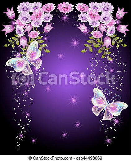 Transparent butterflies with flowers and stars - csp44498069