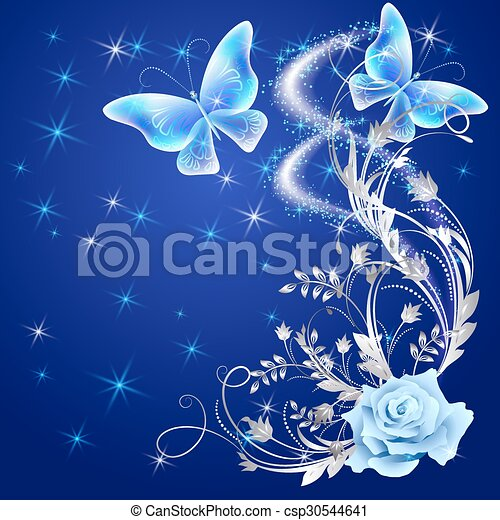 Transparent butterflies with rose  - csp30544641