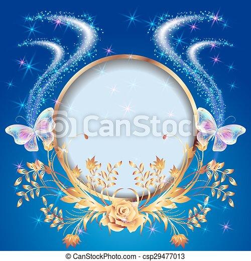 Transparent butterflies with rose - csp29477013