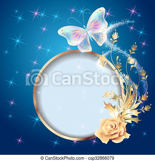 Transparent butterfly with golden ornament, frame and firework - csp32866079