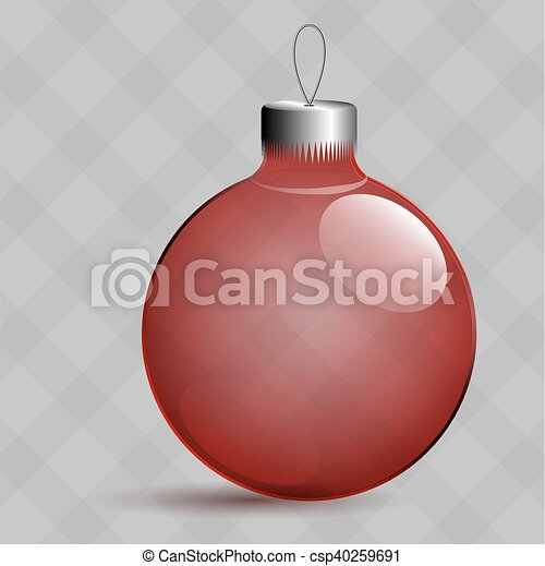 Transparent Christmas toys in the form of a ball. Metal clip. - csp40259691