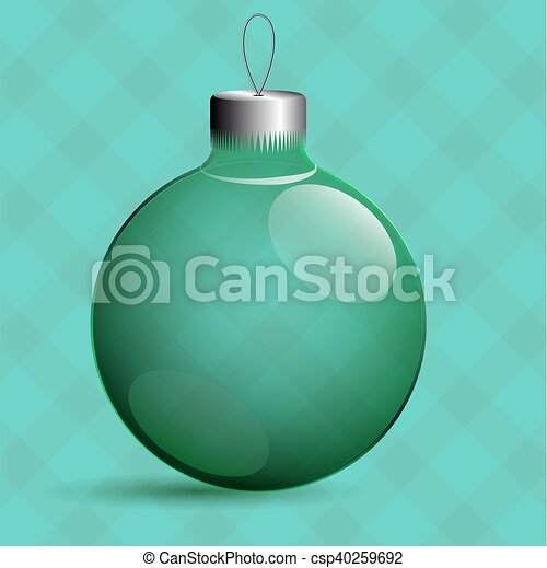 Transparent Christmas toys in the form of a ball. Metal clip. - csp40259692