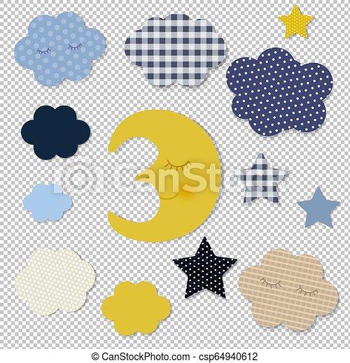 transparent, fond, dessin animé, étoiles, lune - csp64940612