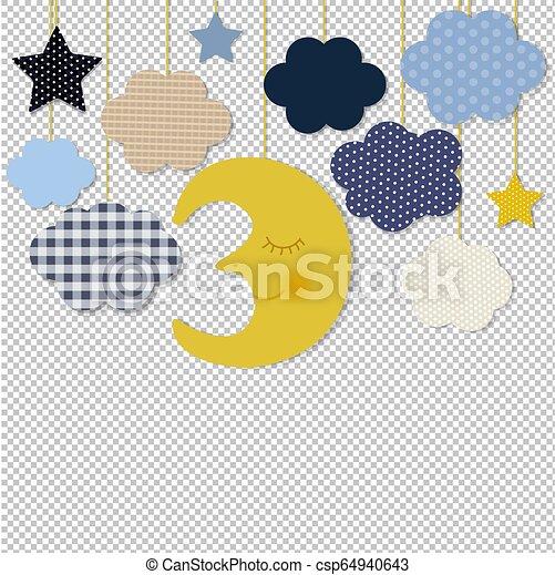transparent, frontière, fond, étoiles, lune - csp64940643