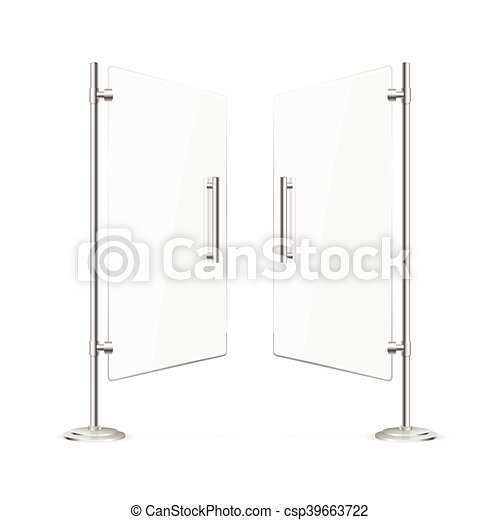 Glass Doors Clipart vector illustration of transparent glass door open with steel