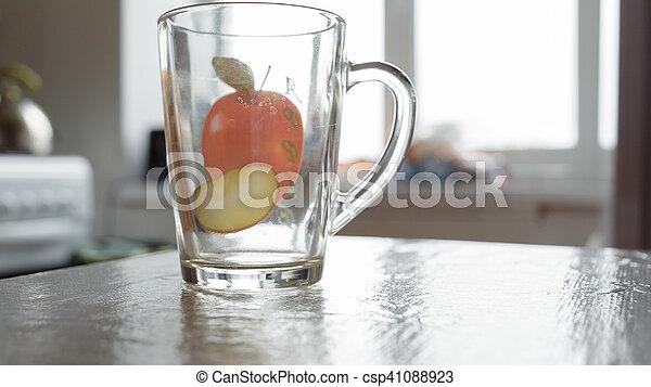 transparent glass mug - csp41088923