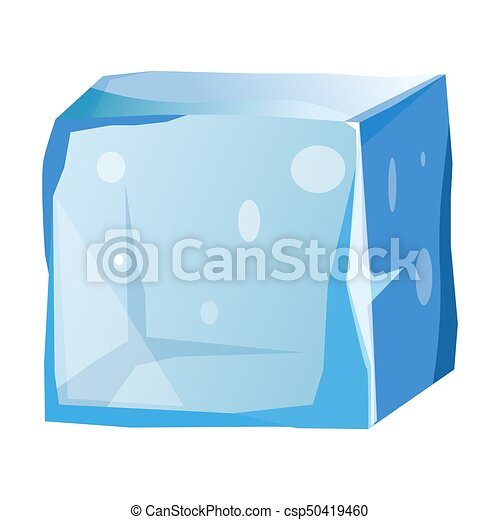 Transparent Ice Cube With Uneven Edges Isolated Illustration