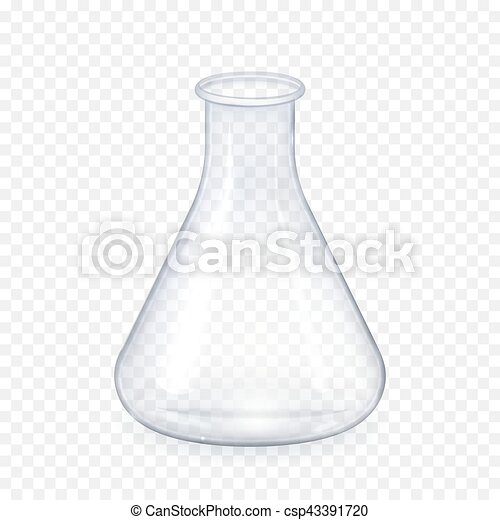 Transparent laboratory glass flask isolated background decorative realistic daylight design vector illustration - csp43391720