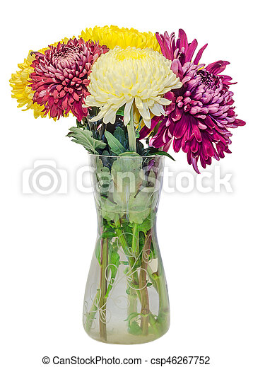 Transparent Vase With Chrysanthemum And Dhalia Purple And Yellow
