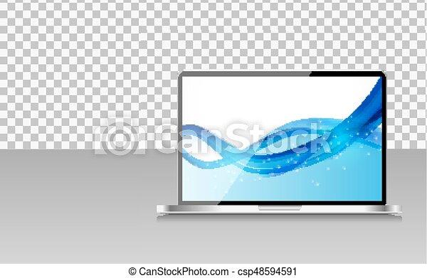 transperent, informatique, arrière-plan., ordinateur portable, papier peint, illustration, résumé, réaliste, vecteur, écran - csp48594591