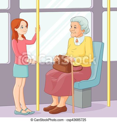 transport., ישן, illustration., להציע, צעיר, הושב, וקטור, ילדה, גברת, ציבור - csp43685725
