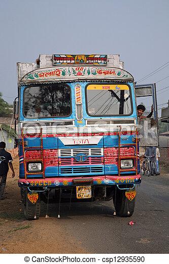 transport, buss, indien, färgrik, typisk, dekorerat, publik - csp12935590