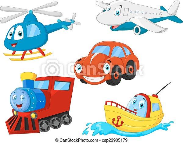 transport, dessin animé, collection - csp23905179