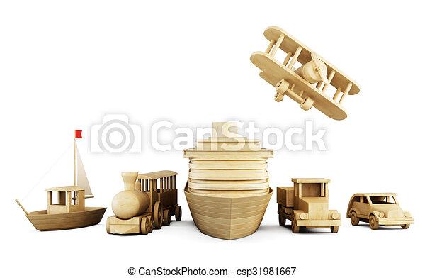 transport., differente, set, legno, -, giocattoli, tipi - csp31981667