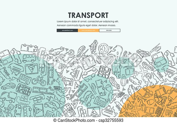 transport doodle website template design transport website template