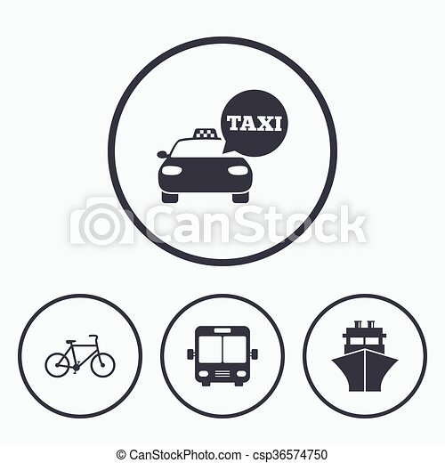Transport icons  Taxi car, Bicycle, Bus and Ship