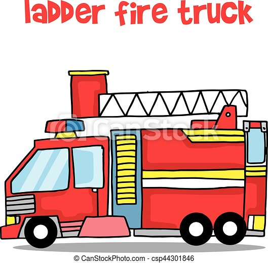 transport of ladder fire truck cartoon vector illustration eps rh canstockphoto com fire truck clip art free download fire truck clip art free