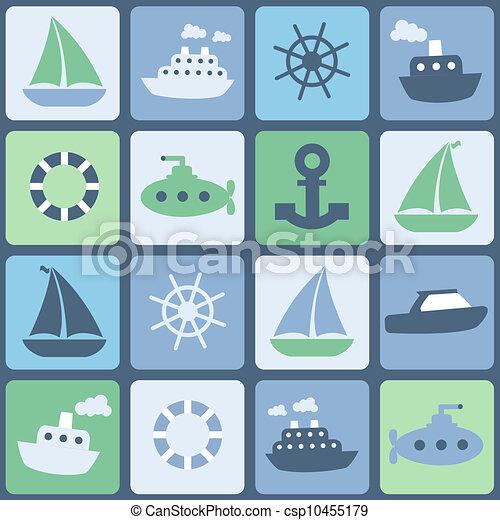 transport., seamless, kolor, wektor, retro, morze - csp10455179