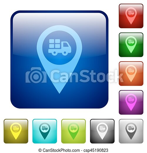 Transport service GPS map location color square buttons - csp45190823