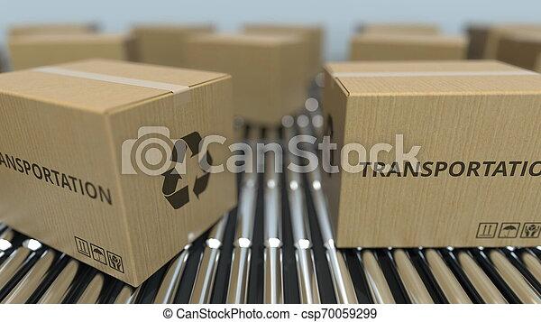 transport, texte, conveyor., mouvement, rendre, boîtes, carton, rouleau, 3d - csp70059299