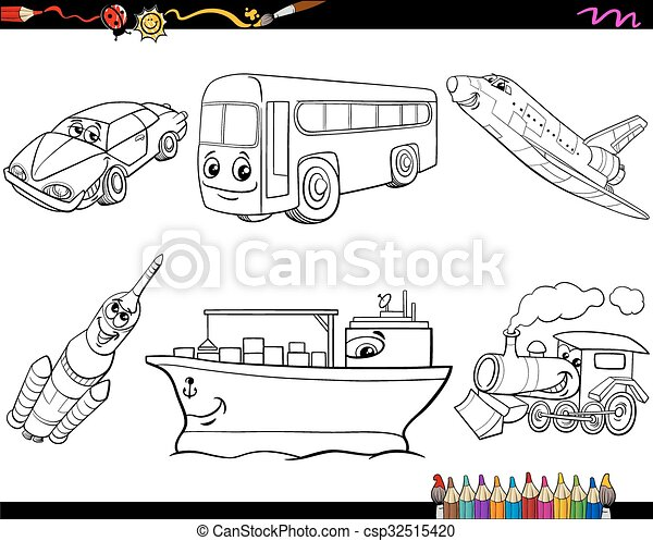 transport vehicles coloring page black and white cartoon vector illustration search. Black Bedroom Furniture Sets. Home Design Ideas