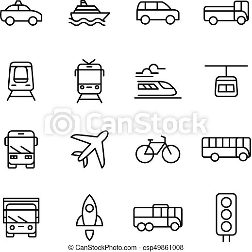 Transportation And Vehicles Vector Icons
