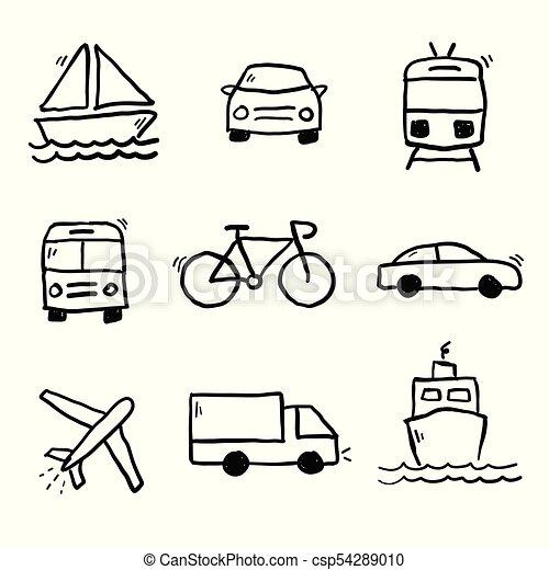 Transportation Doodles Collection Vector Transportation Doodle