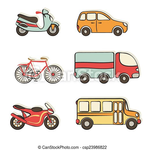 transportation hand drawing icons - csp23986822