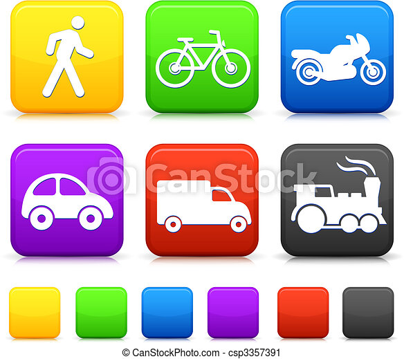Transportation icon on internet buttons - csp3357391