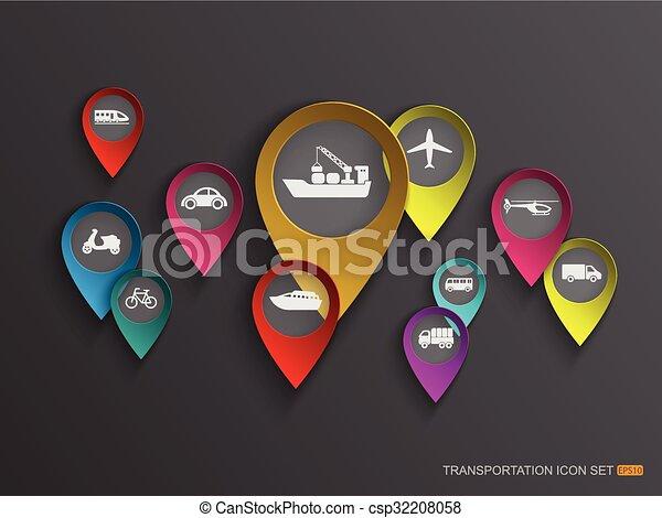 Transportation icon set. vector - csp32208058
