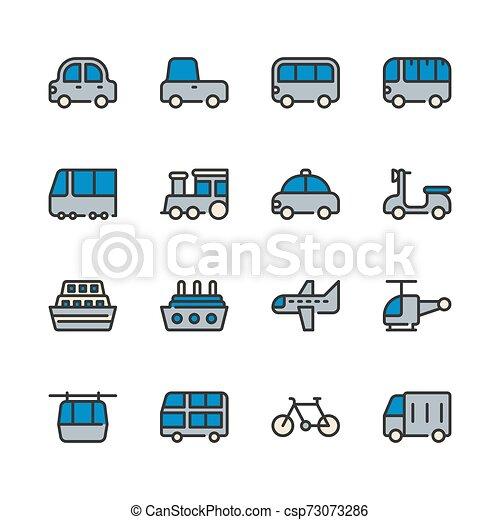 Transportation icon set. Vector illustration - csp73073286