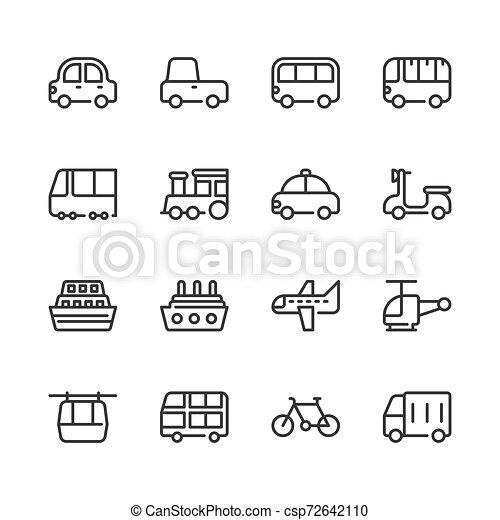 Transportation icon set. Vector illustration - csp72642110