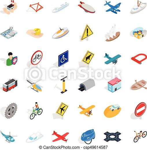 Transportation icons set, isometric style - csp49614587