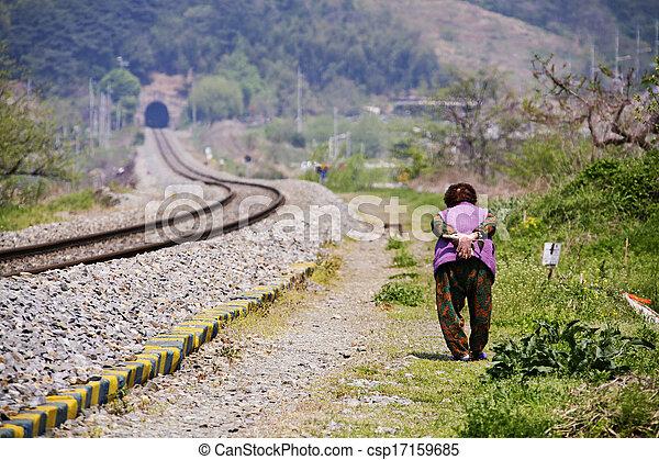 Transportation in South Korea,Railroad train - csp17159685