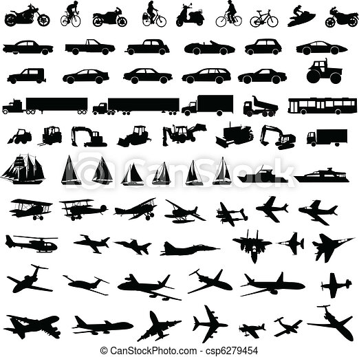 transportation silhouettes - csp6279454