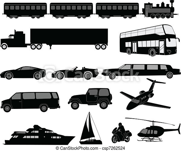 Transportation silhouettes - csp7262524