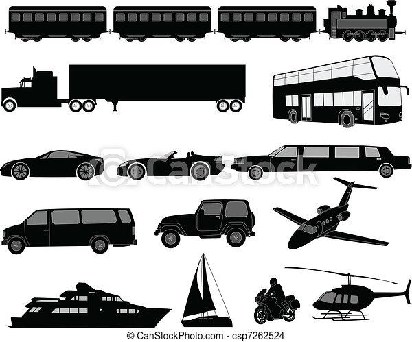 Transportation silhouettes - csp7262524
