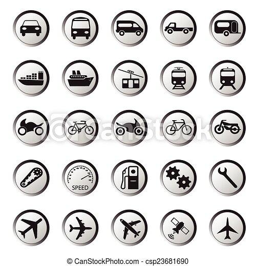 transporte, ícones - csp23681690