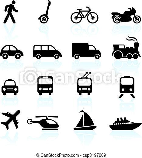 transporte, elementos, desenho, ícones - csp3197269